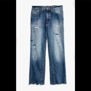 NWT Madewell Rivet & Thread Wide-Leg Crop Jeans